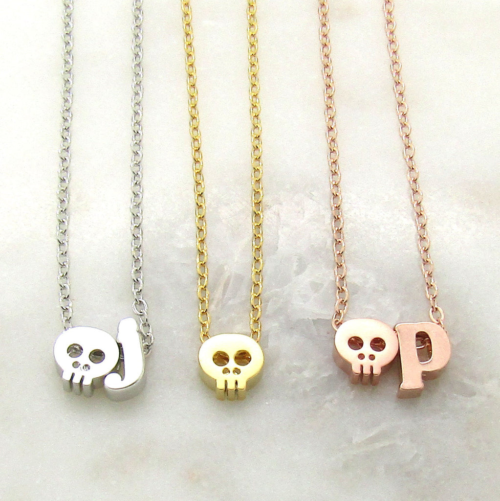 Skull Necklace//Tiny Personalized Skull Choker//Initial Necklace//Halloween Jewelry//Silver Rose Gold or 16k Gold Plated//Skull Jewelry