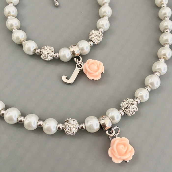 Flower Girl Gift Flower Girl Necklace and Bracelet Set Personalized Pearl Jewelry Set Kids Wedding Flower Girl Jewelry Gift Idea SET02