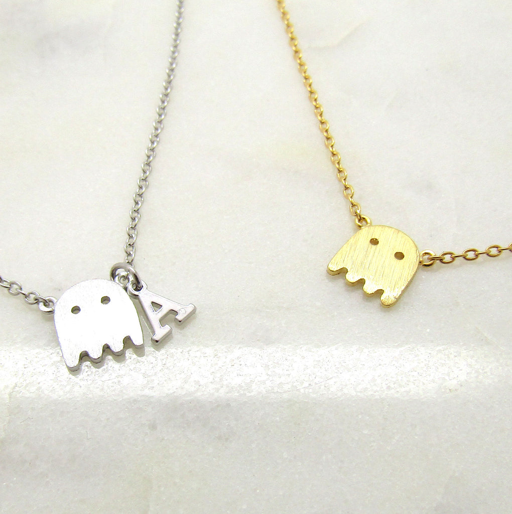 Tiny Ghost Necklace ,Add Your Initial or Keep It Simple, Silver Plated or 16k Gold Plated Brushed Finish, Ghost Choker Halloween Gifts