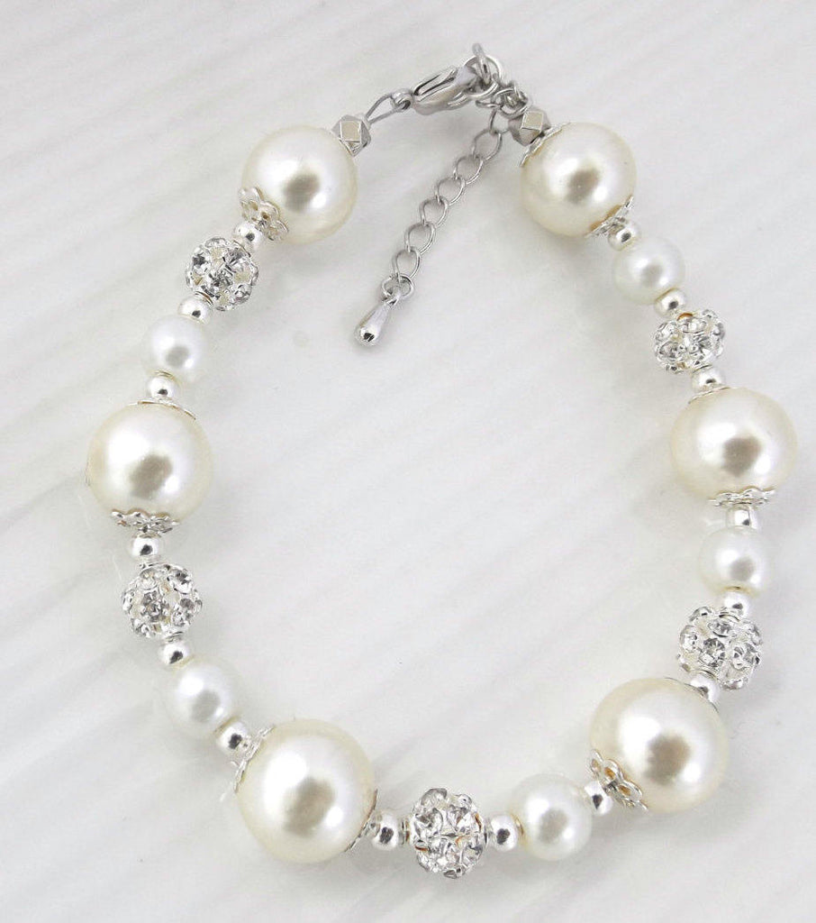 Ivory or White Pearl Bridesmaid Bracelet, Bridesmaid Gift,Bridesmaid Jewelry