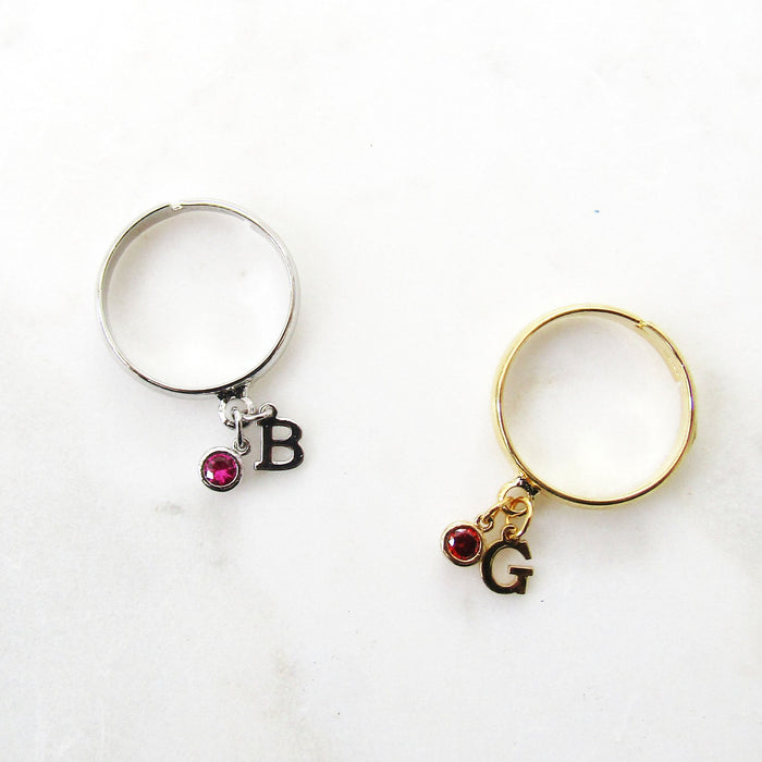 Adjustable Birthstone Initial Ring Mothers Day Gifts Gifts For Mom Silver Plated or Gold Plated Stacking Ring Gifts for Her Grandma Gift