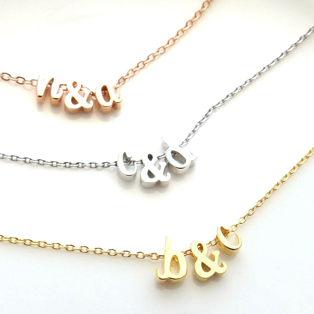 Two (2) Initials and Ampersand (&) Necklace//Silver Plated, Rose Gold Plated or 16k Gold Plated//Custom Lengths To Choose //Gifts for Wife
