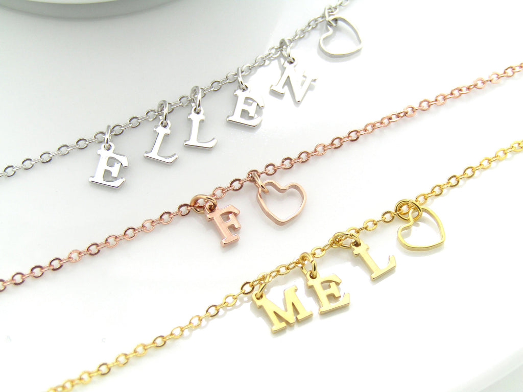 Bridesmaid Gift , Personalized Bridesmaid Bracelet,  Silver Rose Gold Gold Initial Bracelet