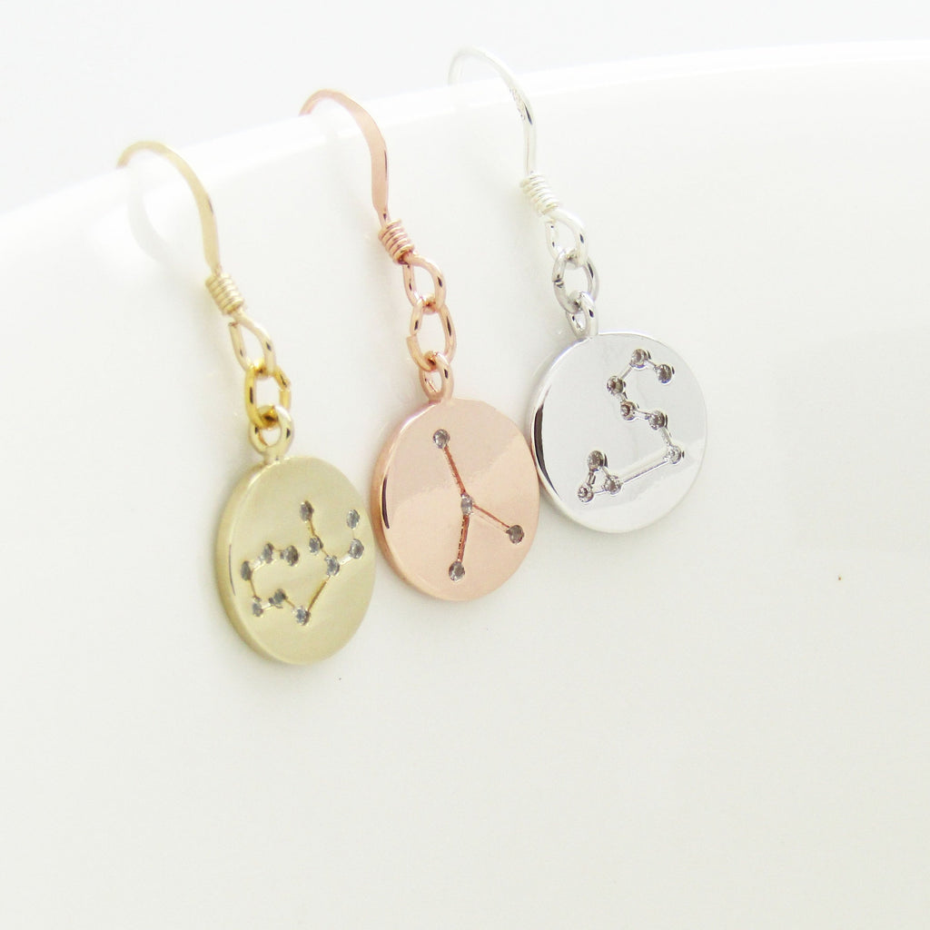 Zodiac Constellations Earrings-Gifts For Her Birthday Gifts- Silver Rose Gold or Gold-Star Sign Earrings- Constellation Jewellery