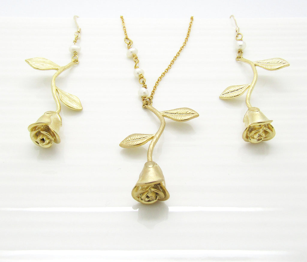 Bridesmaid Necklace and Earrings Set, Silver Rose Gold or Gold Bridesmaid Gift Bridesmaid Jewelry Wedding Jewelry, Rose Jewelry