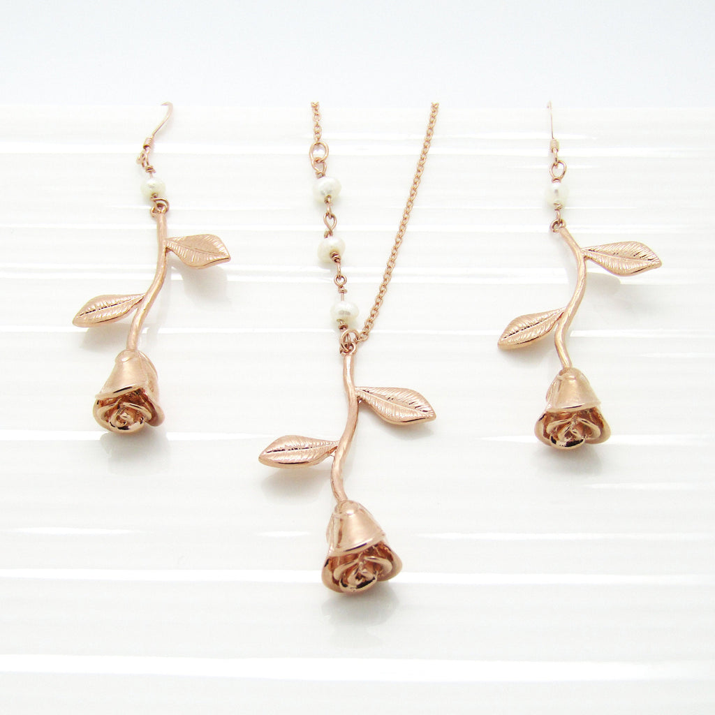 Rose Stem Pendant Necklace and Earrings Set, Silver Floral Spring Wedding Jewellery