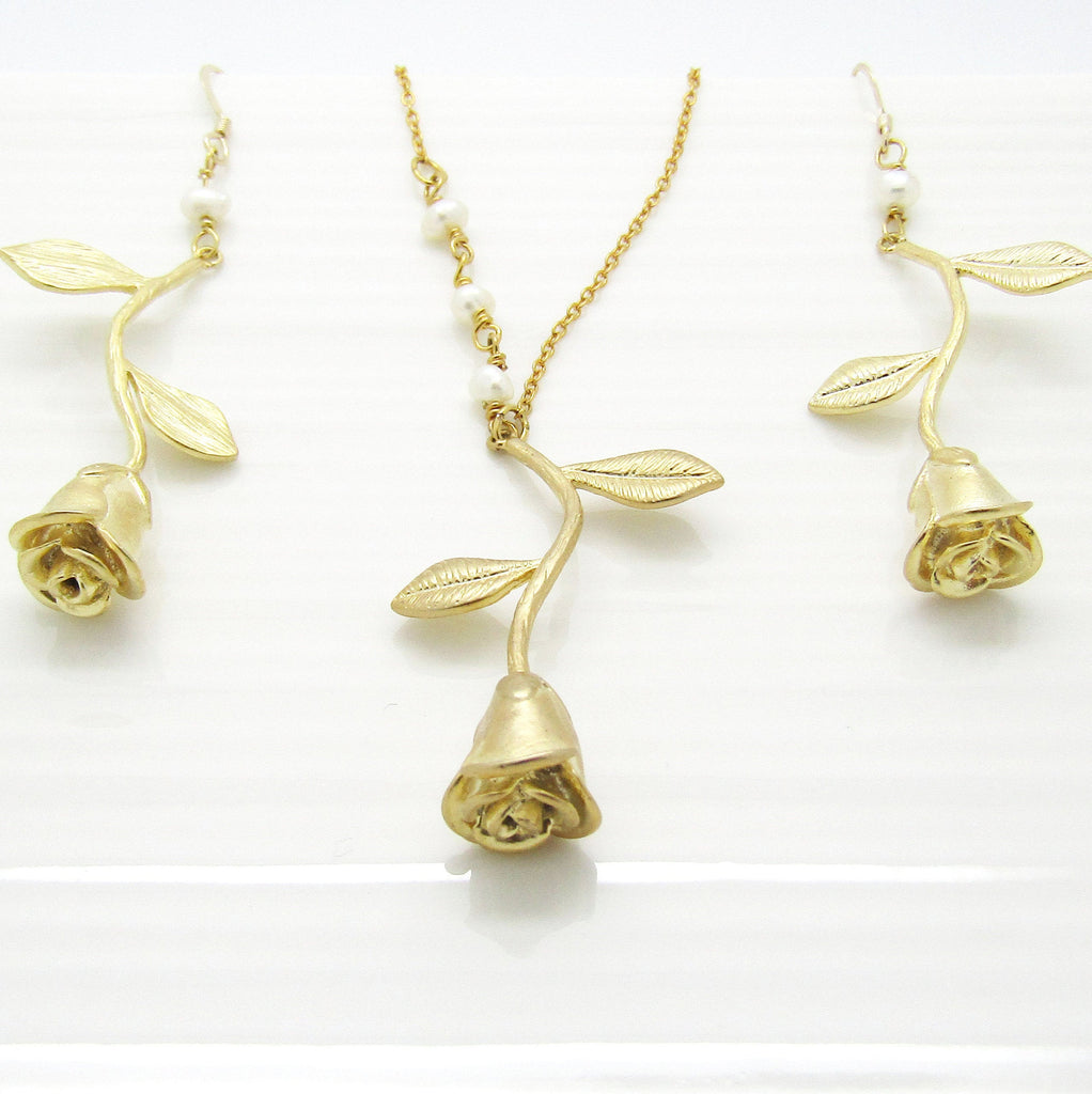 Gold Filled Rose Earrings and Necklace Set Bridesmaid Jewellery, Bridesmaid Gifts ,Bridal Party Gift Idea