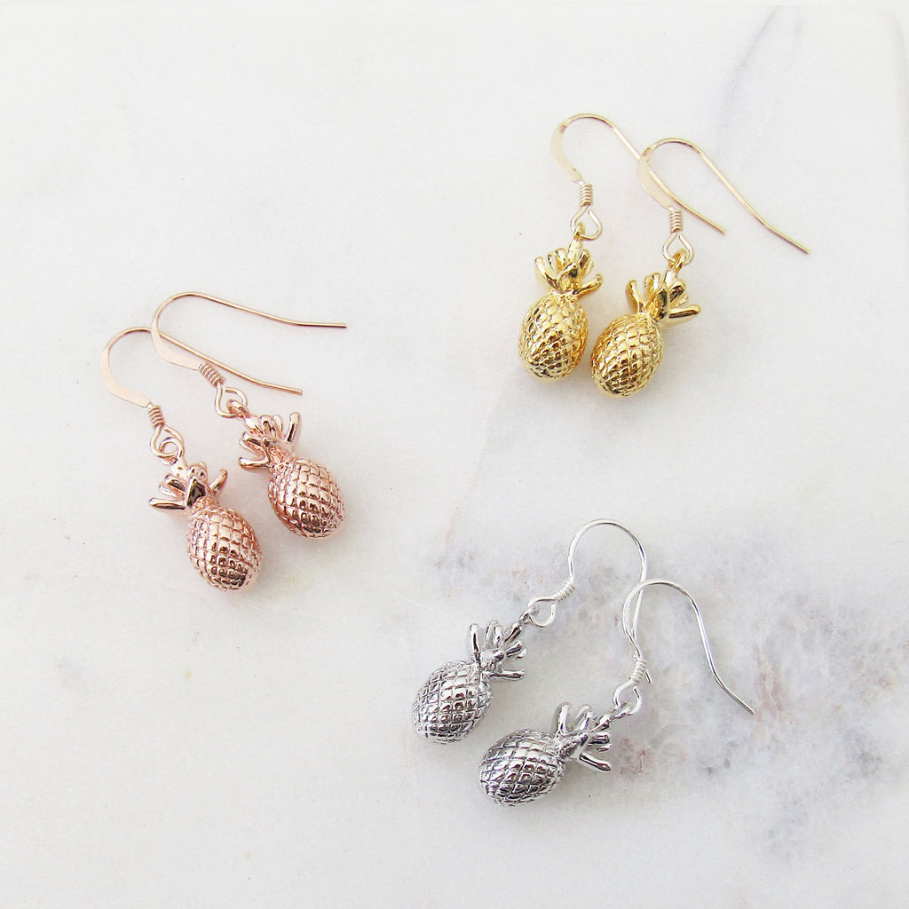 Pineapple Earrings Silver Rose Gold Gold Filled Pineapple Tropical Summer Earrings Pineapple Jewelry Womens Teen Girls Pineapple Earrings