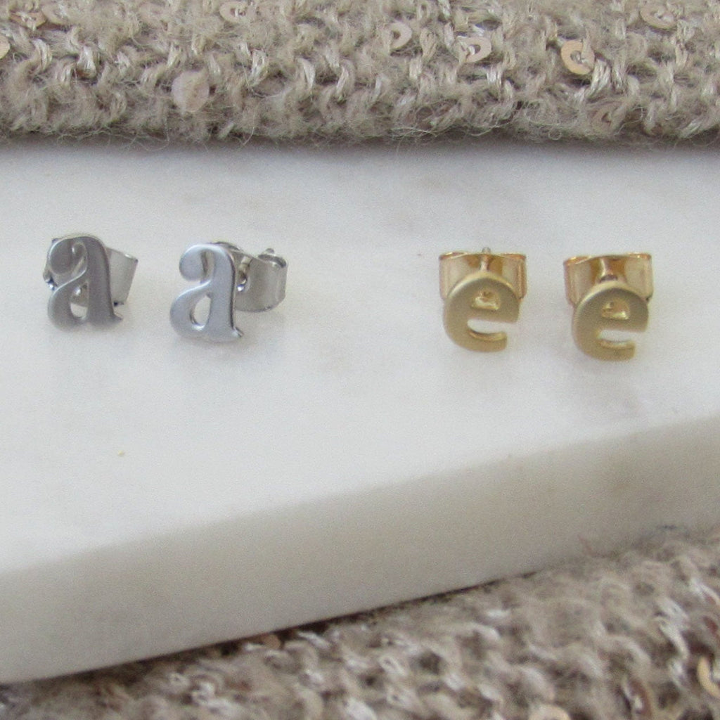 Lowercase Tiny Initial Earrings Studs //Sterling Silver or Gold//Single Cartilage Stud or Pair//Letter Earrings//Bridesmaid Gift//Small Stud