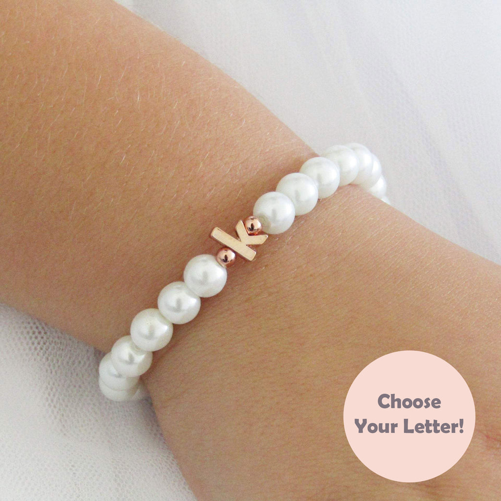 Flower Girl Gift, Children's Rose Gold Lowercase Initial Bracelet On Stretch Cord