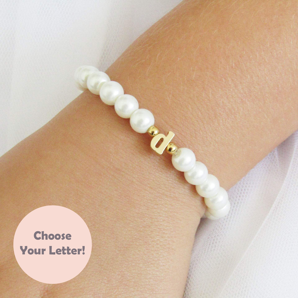 Flower Girl Gift , Gold Lowercase Initial Bracelet For Kids Bracelet