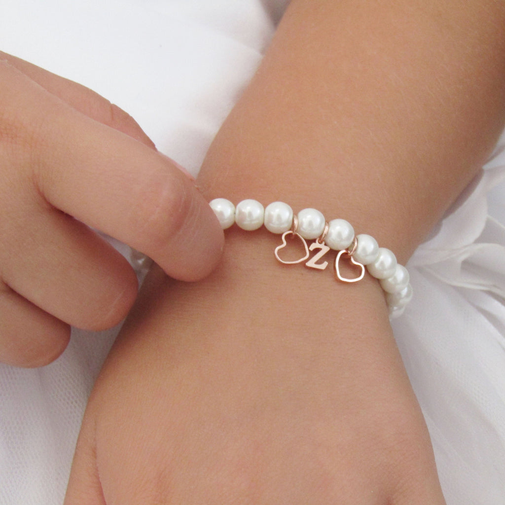 Rose Gold Personalized Flower Girl Bracelet, Flower Girl Gift, Kids Jewelry, Wedding Jewelry ,Toddler Bracelet Gift , Flower Girl Jewelry