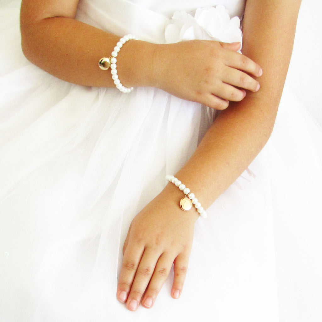 Flower girl gift, flower girl bracelet, girls locket bracelet, silver rose gold or 16k gold , kids jewelry, locket bracelet kids gifts