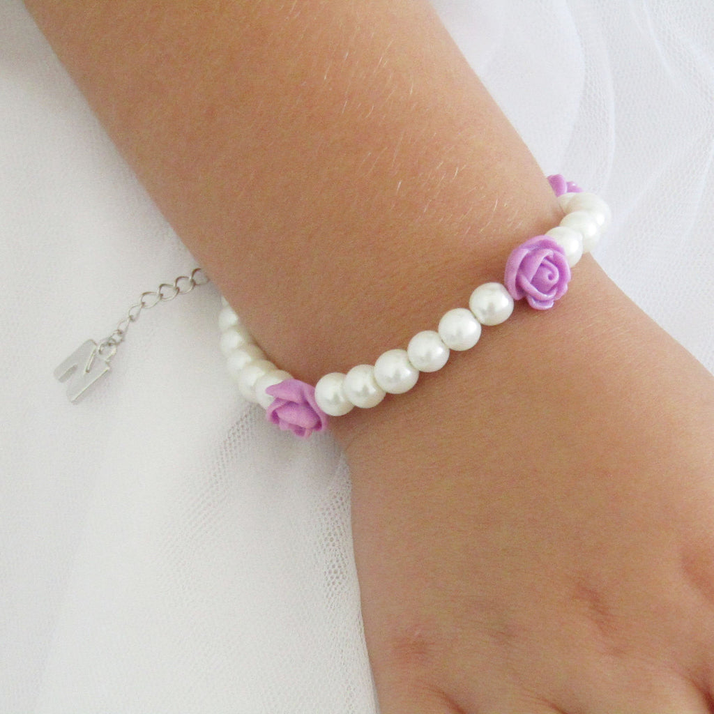 Flower girl gift, Personalised flower girl bracelet,  flower girl gift idea, children's pearl bracelet, wedding jewelry , kids gifts