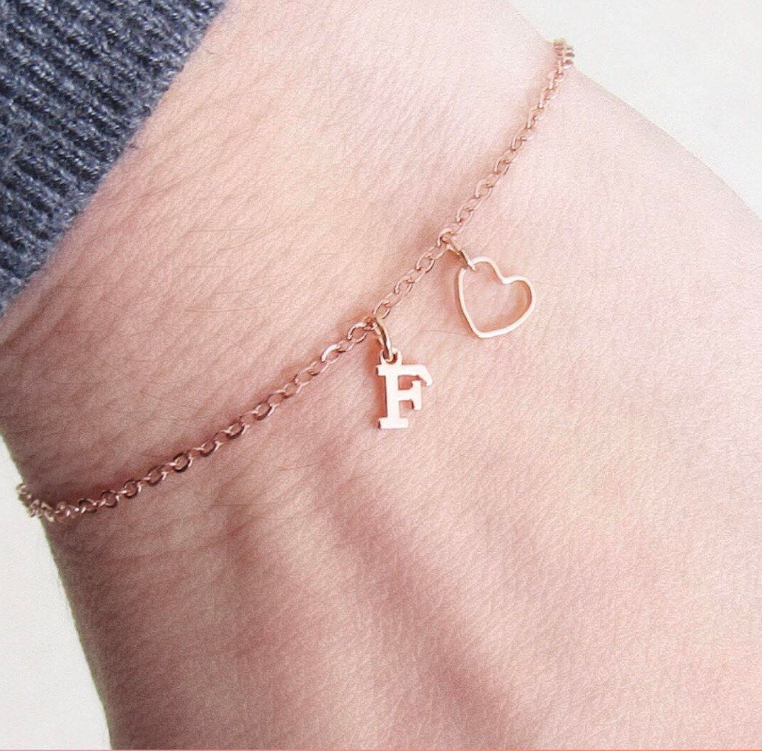 Personalized Initial Two Hearts Anklet// 16k Gold Rose Gold Silver Plated