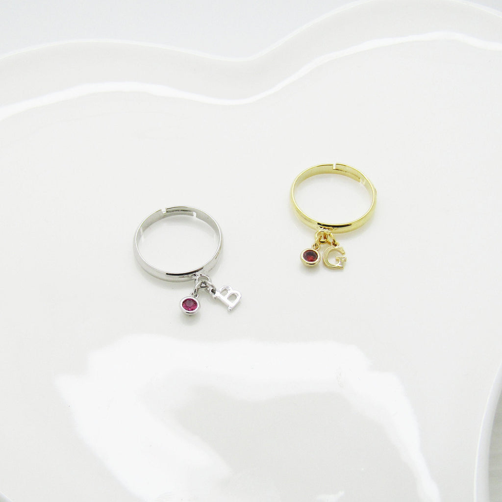 Birthstone Initial Ring , Mothers Day Gifts,  Gifts For Mom Silver Plated or Gold Plated ,Stacking Ring Gifts for Her - Adjustable