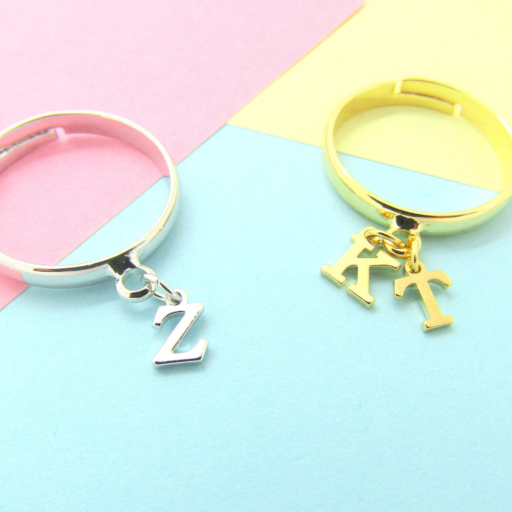 Initial Ring//Tiny Personalized Ring//Adjustable Ring Silver Plated or 16k Gold Plated//Letter Ring//Bridesmaid Ring Gift//Best Friend Gift