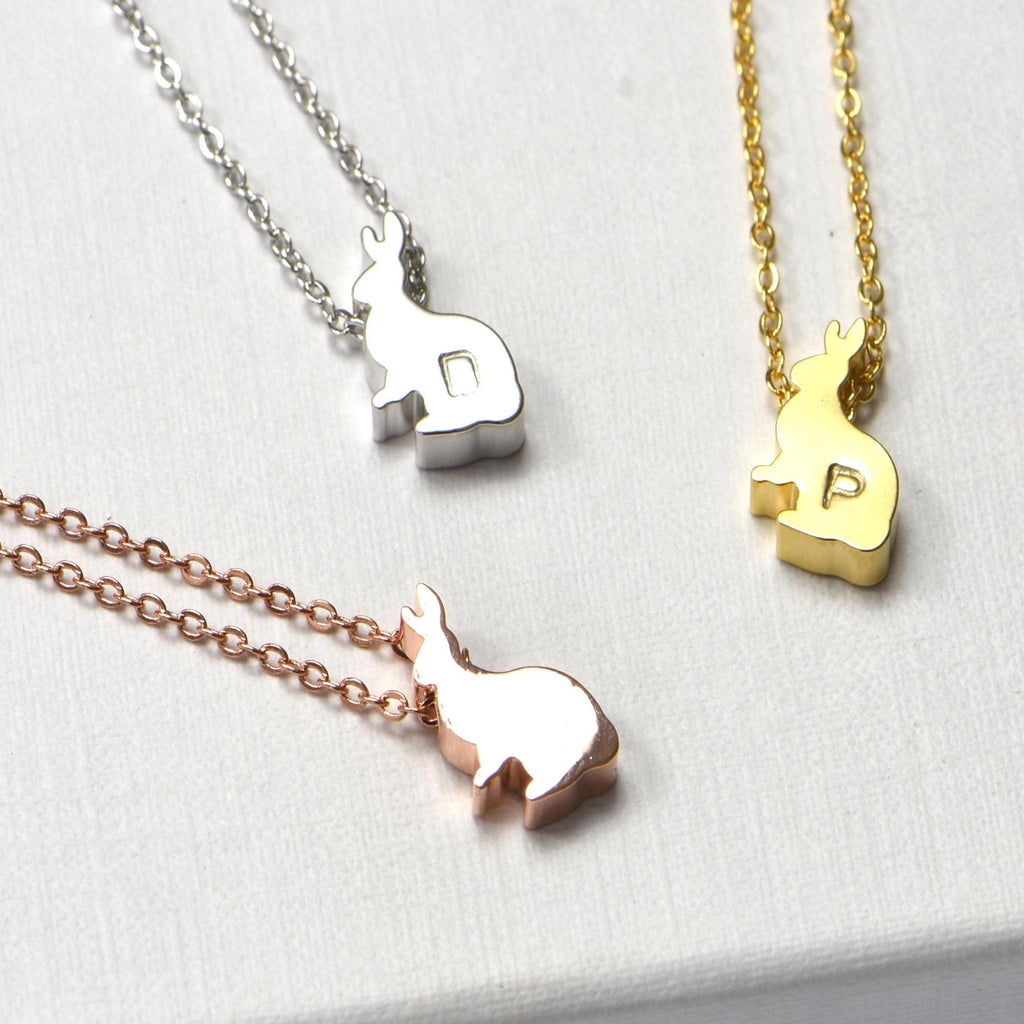 Bunny Rabbit Necklace-Initial Necklace-Easter Jewelry Necklace-Silver Rose Gold or 16k Gold Plated-Animal Nature Lover Gift-Christmas Gifts