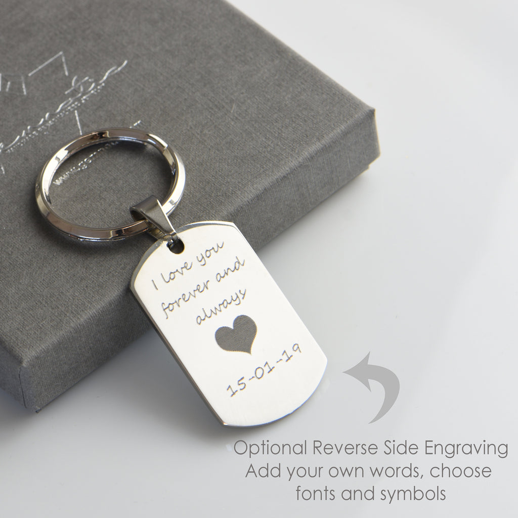 Engraved Photo Key Chain Personalized Boyfriend Girlfriend Gifts For Her Gifts For Him Stainless steel Photo Key Ring Christmas Gifts