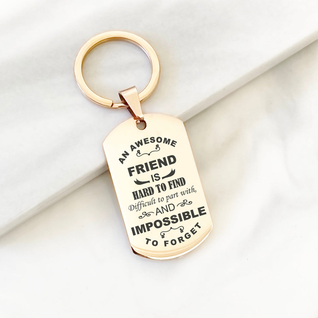 Personalised friend key chain, best friend gift, best friend birthday gift, gifts for friends, silver rose gold or gold custom friend gift