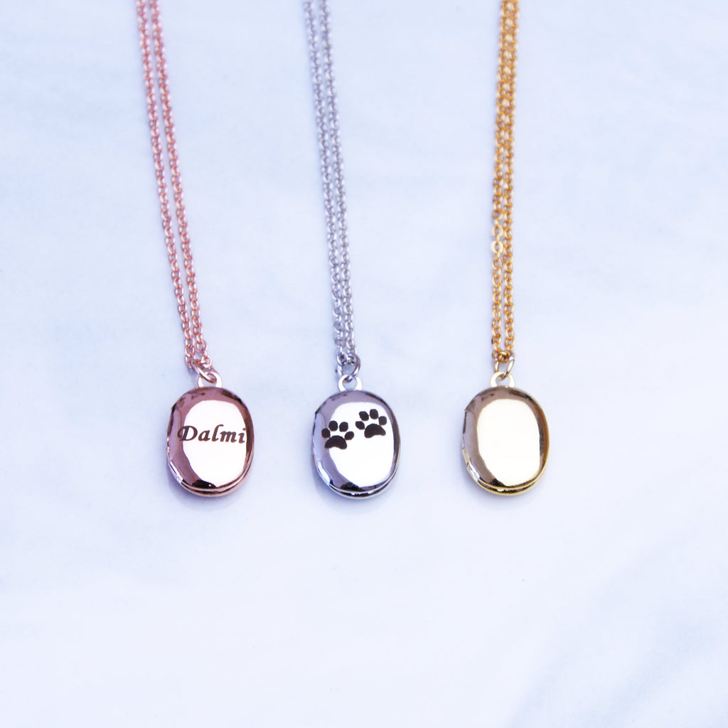 Tiny locket necklace silver rose gold or gold plated oval locket necklace