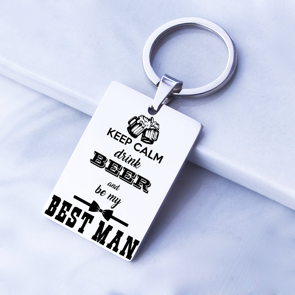 Best Man Gift Groomsmen Gift Bridal Party Gift Keep Calm be my groomsman or best man gift best man key chain groomsman keychain wedding gift