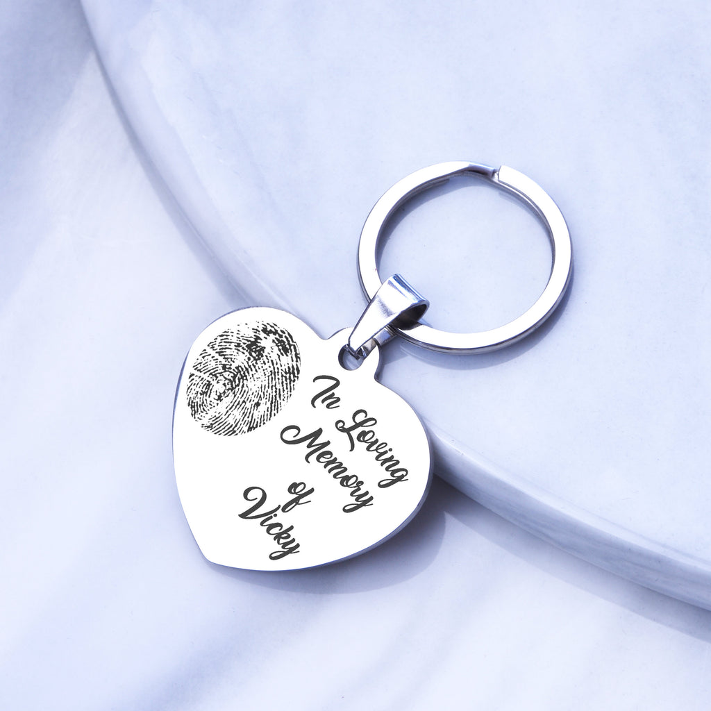 Actual fingerprint key chain, actual hand print or foot print key chain, engraved heart key chain