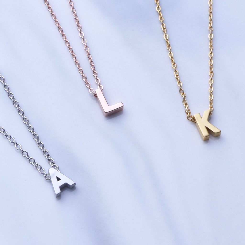 Initial choker rose gold silver or gold dainty letter choker minimal delicate uppercase initial necklace teen gift best friend birthday gift