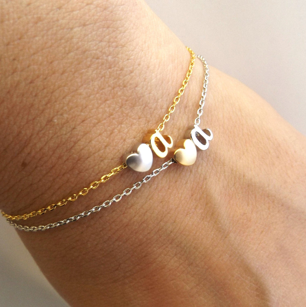 Two tone silver or gold initial bracelet, personalised bridesmaid gift, personalized bridesmaid Jewelry