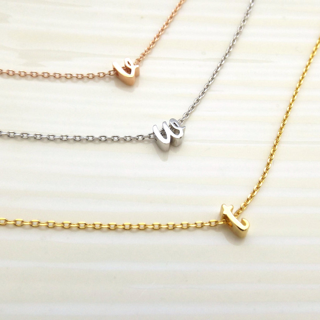 Silver gold rose gold children's initial necklace, personalized flower girl gift, flower girl jewelry