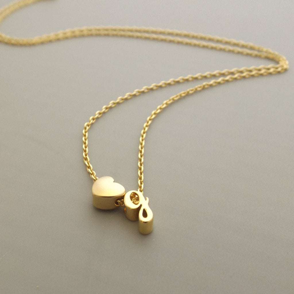 Gold minimalist initial and heart necklace- dainty letter necklace