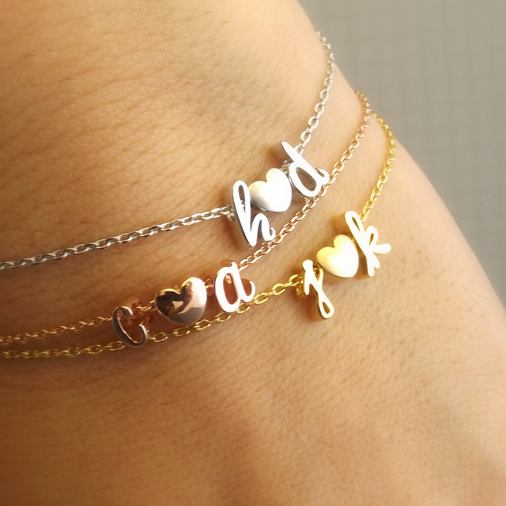 Double Initial Bracelet,Silver Rose Gold 16k Gold Plated ,Initials Bracelet