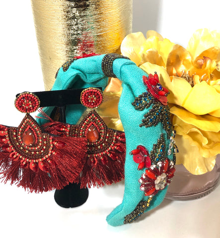 *Gift Set* Teal Beaded Headband and Paprika Tassel Earrings