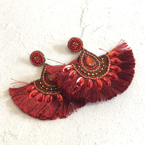 Paprika Tassel Earrings