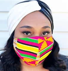Adult Full Coverage Masks - Customizable Elastic - Pink Kente