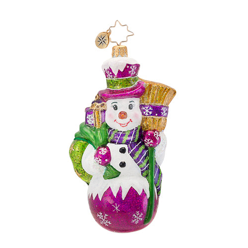 Christopher Radko Make Broom For Me 1016808 Snowman With Broom And Gifts