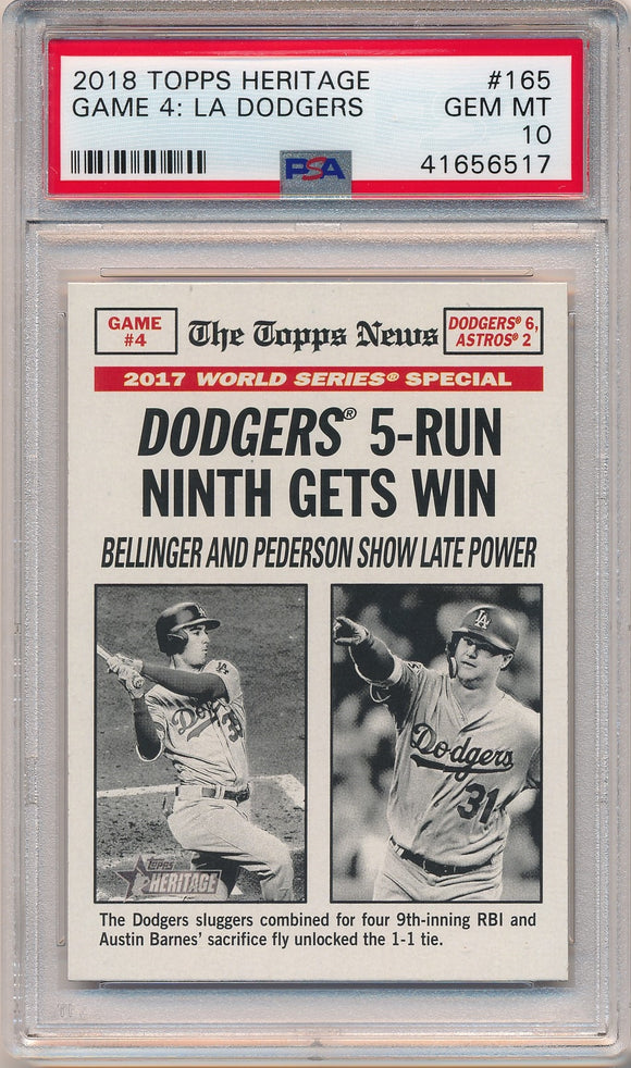 2018 Topps Heritage #165 GAME 4 LA DODGERS - PSA 10 GEM