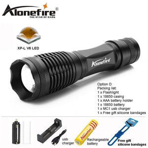 AloneFire E007 CREE XML T6 XPL V6 LED Tactical Flashlight bike Zoomable Spotlight Lamp Lanterna Torch camping for 18650 battery