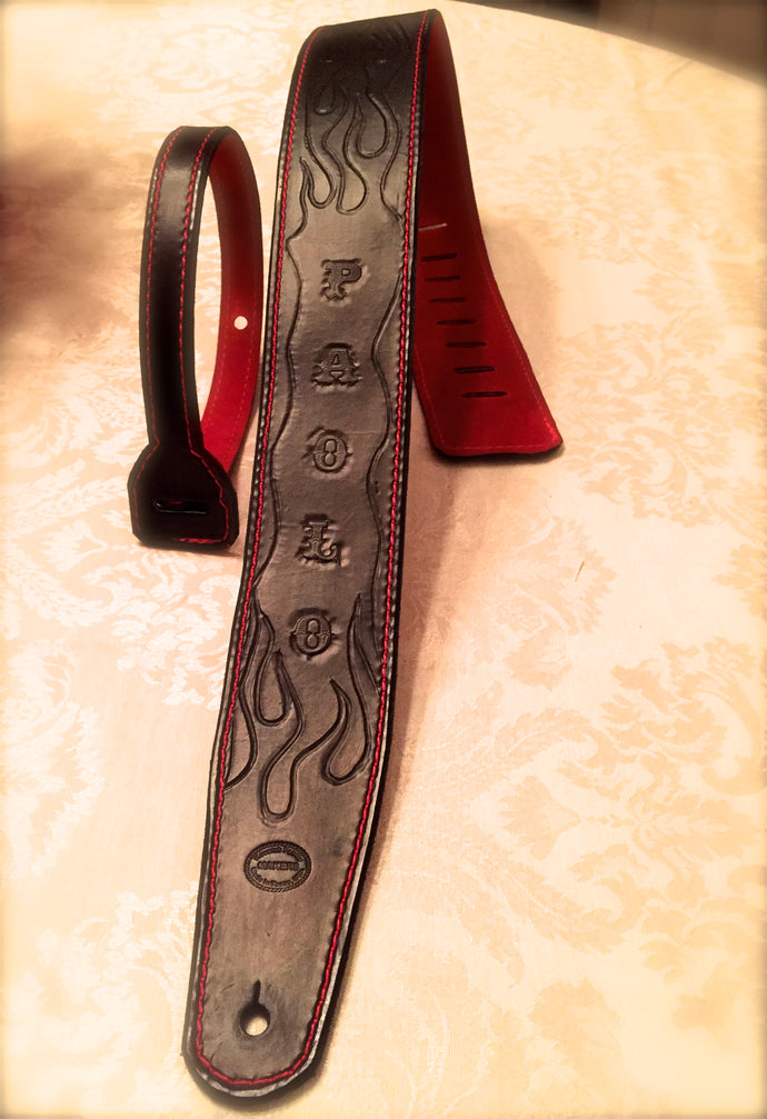 Hand-Tooled Custom Leather Guitar Strap