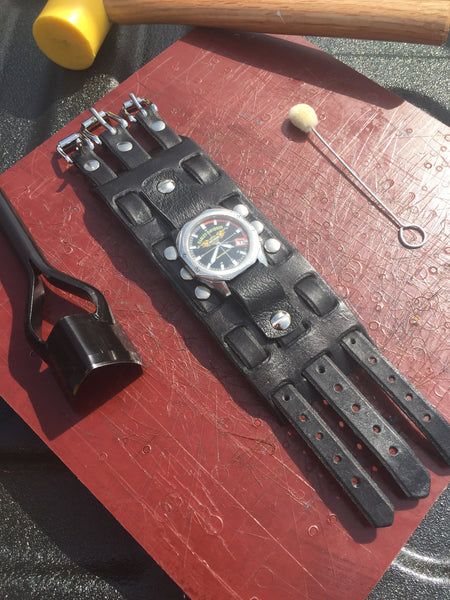 Custom Leather Biker Watch Band