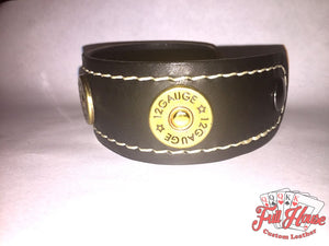 12-Gauge Shotgun Shell - Leather Wrist Cuff - Full House Custom Leather