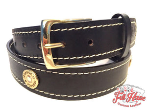 12-Gauge Shotgun Shell - Mens Leather Belt - Full House Custom Leather