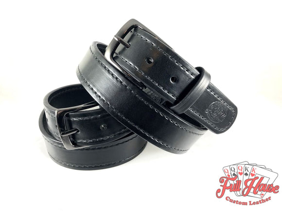 Black English Bridle - Mens Full Grain Leather Belt - Full House Custom Leather