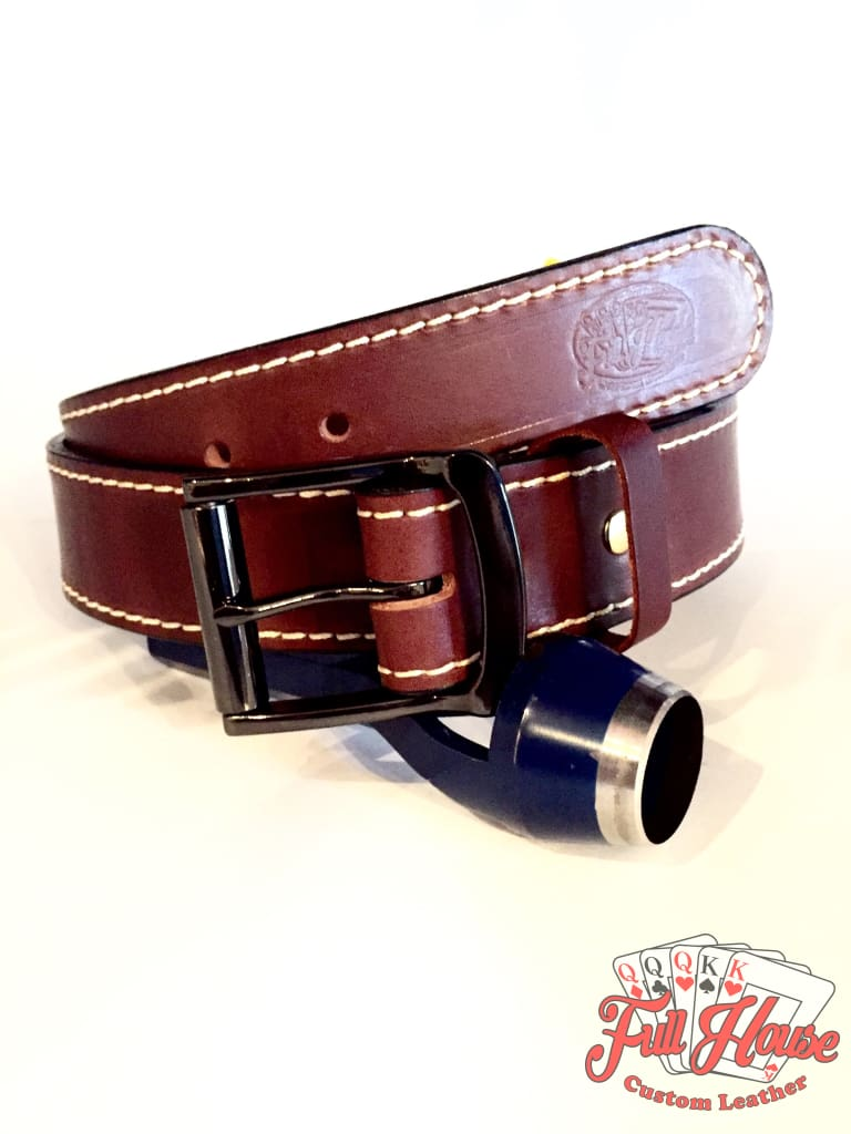 Brown English Bridle - Mens Full Grain Leather Belt - Full House Custom Leather
