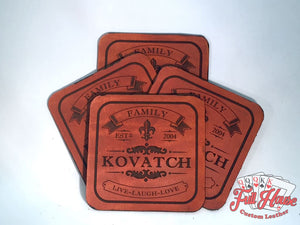 Customized Leather Name Coasters - Full House Custom Leather