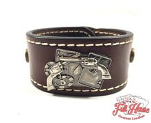 Load image into Gallery viewer, Pocket Aces and .45's - Leather Wrist Cuff - Full House Custom Leather