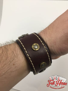 Pocket Aces and .45's - Leather Wrist Cuff - Full House Custom Leather