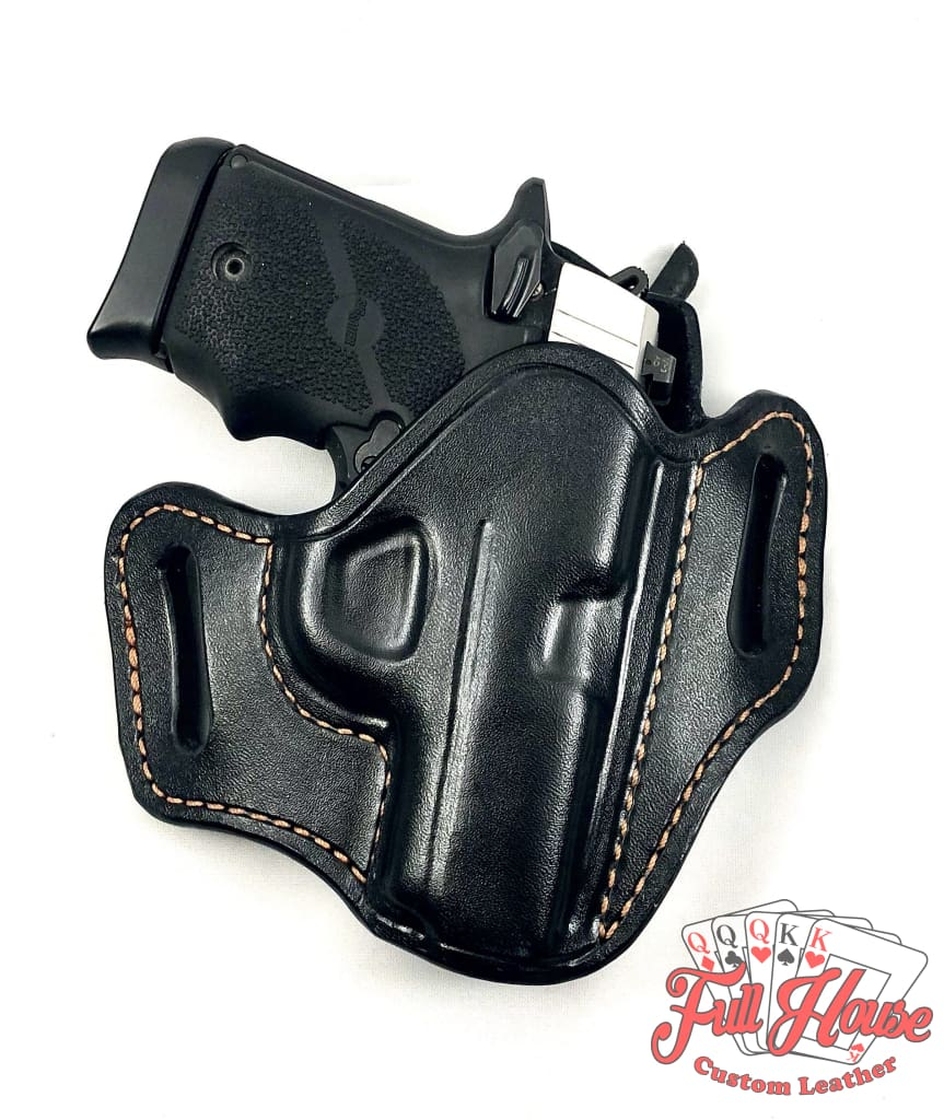 Sig Sauer P938 9mm - Black Leather Pancake Holster (OWB) - Full House Custom Leather