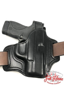 Smith & Wesson M&P Shield .45 - Black Leather Pancake Holster (OWB) - Full House Custom Leather
