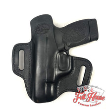 Load image into Gallery viewer, Smith & Wesson M&P Shield 9mm - Black Leather Pancake Holster (OWB) - Full House Custom Leather